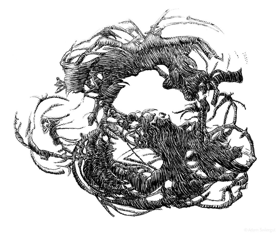 04.11 abstrakcja 2015 - rysunek abstrakcyjny, piórko, lawowanie