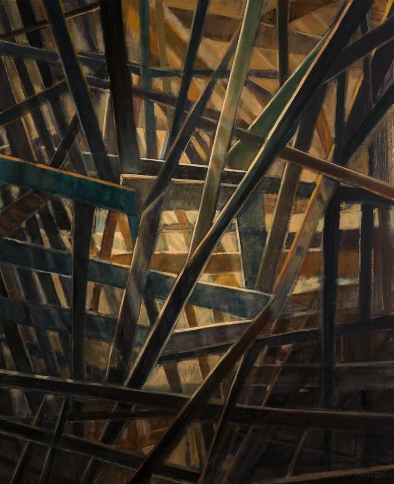 Konstrukcja 1 - obraz olejny 81x100 cm