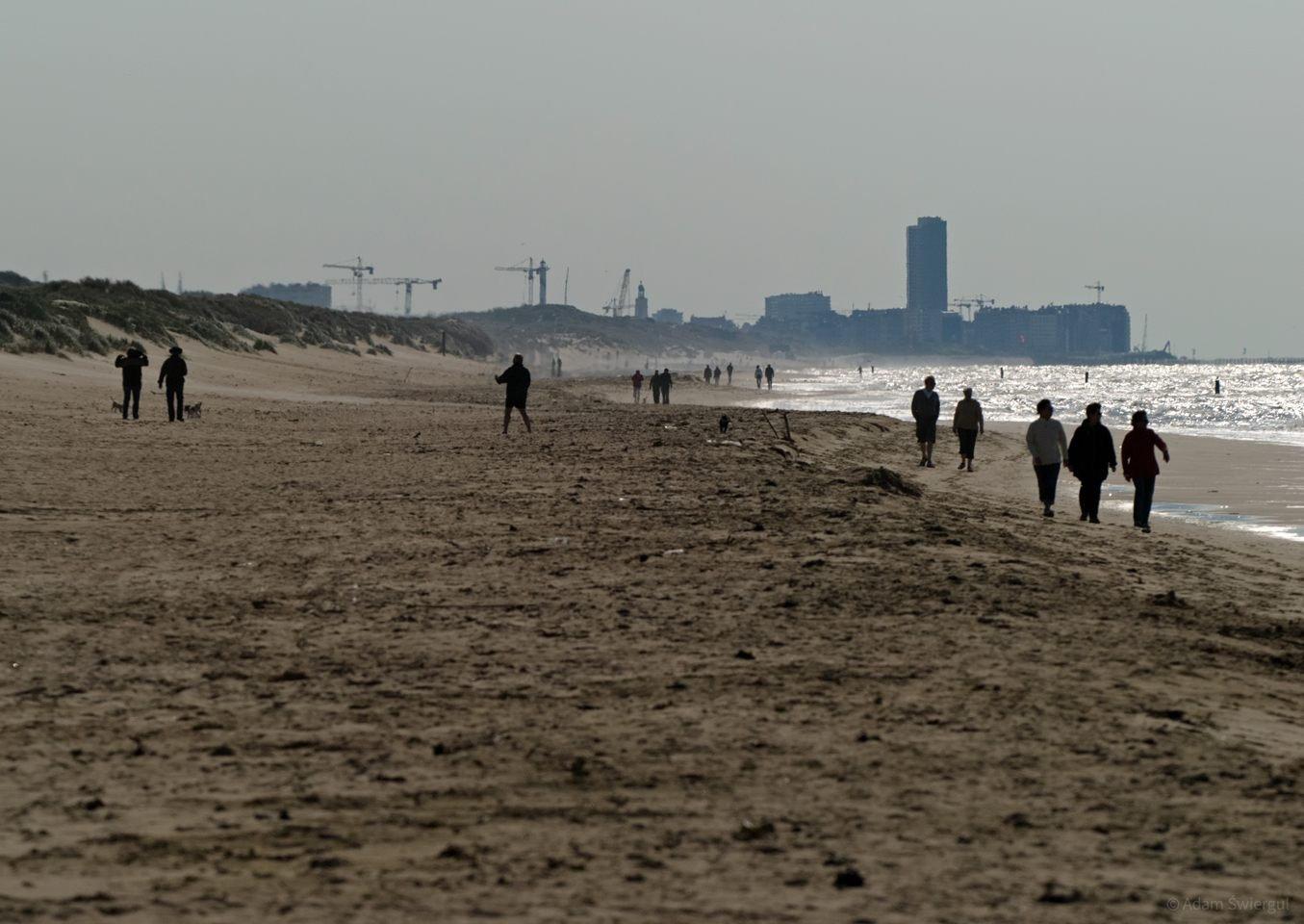Plaża,w tle Ostenda
